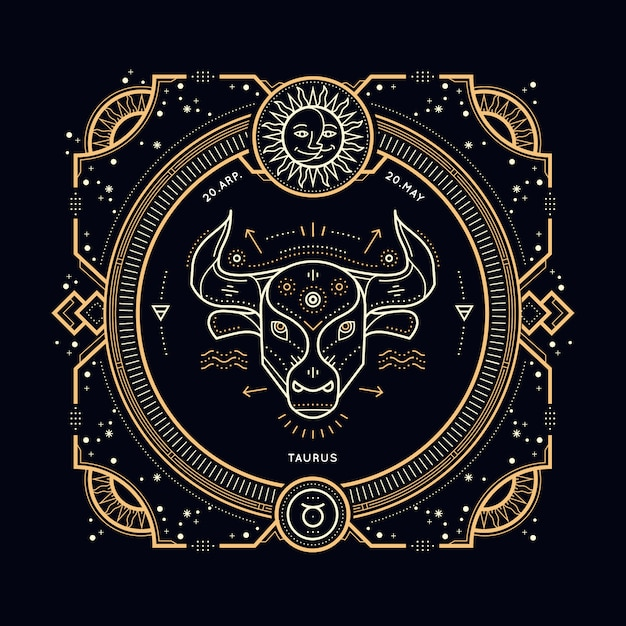 Vintage thin line taurus zodiac sign label. retro  astrological symbol, mystic, sacred geometry element, emblem, logo. stroke outline illustration. Premium Vector