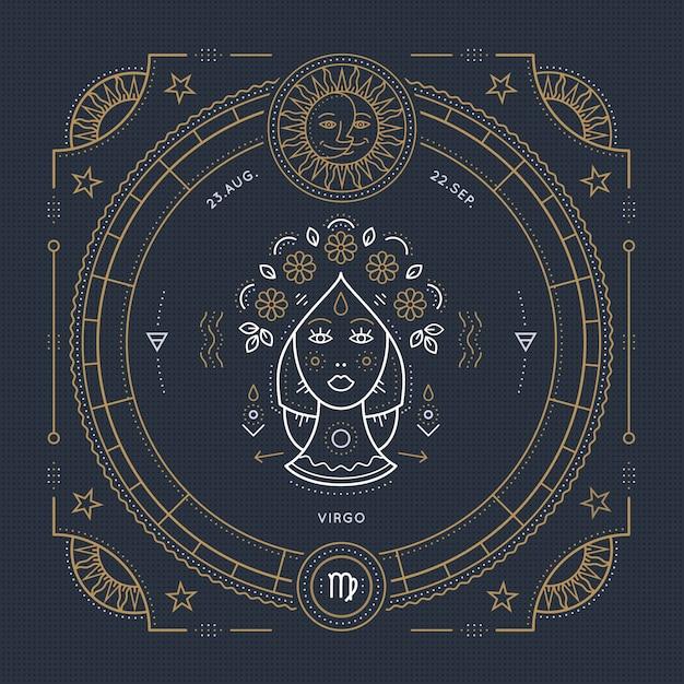 Vintage thin line virgo zodiac sign label. retro  astrological symbol, mystic, sacred geometry element, emblem, logo. stroke outline illustration. Premium Vector