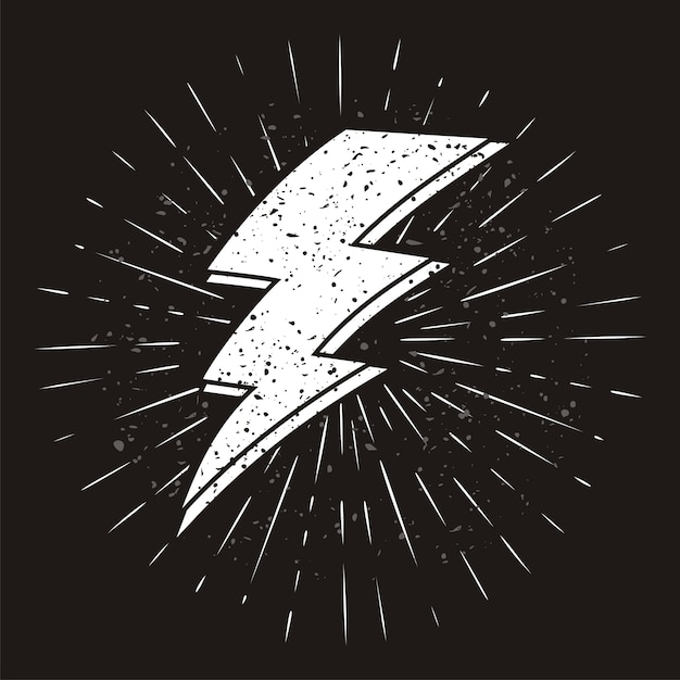 Vintage thunder symbol with sunburst in grunge background Premium Vector