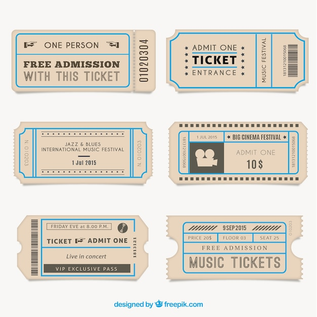 Vintage Tickets Collection Premium Vector  E Ticket Template