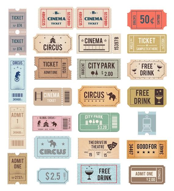 Biglietti vintage con diverse texture grange Vettore gratuito