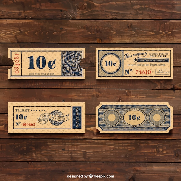 Vintage tickets Vector | Free Download