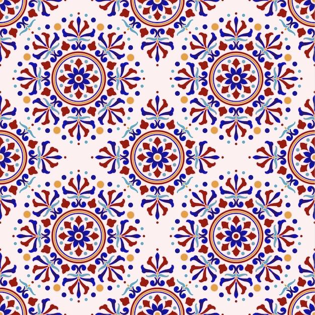Vintage tile pattern turkish style Premium Vector