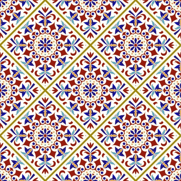 Vintage tile pattern with colorful patchwork turkish style Premium Vector