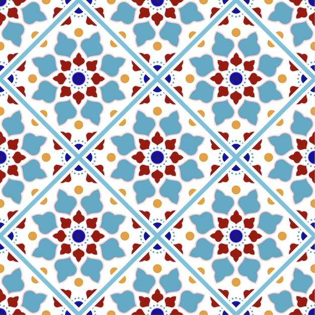 Vintage tile pattern with colorful patchwork Premium Vector