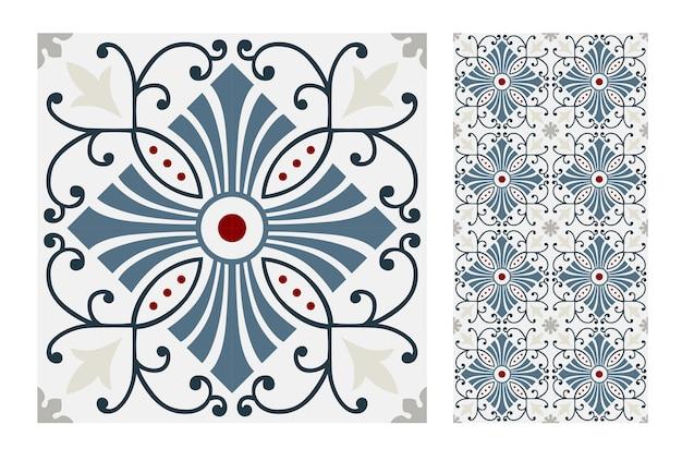 Vintage tiles patterns antique seamless design Premium Vector