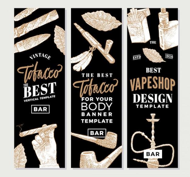 Banner verticale di tabacco vintage Vettore gratuito