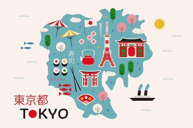 Elementi della mappa di tokyo vintage Vettore gratuito