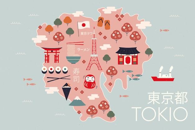 Mappa di tokyo vintage con attrazioni turistiche Vettore gratuito