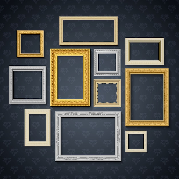 Vintage traditional realistic frames set on dark wall isolated vector illustration Free Vector