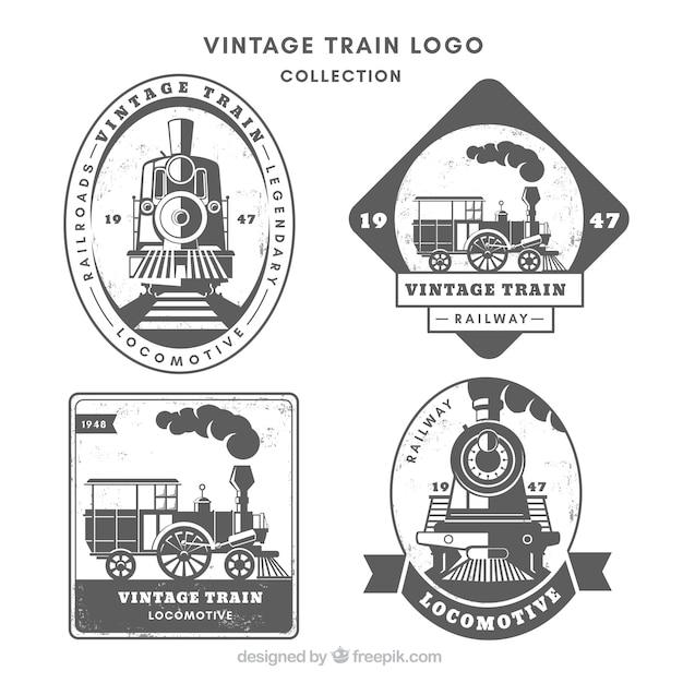 Vintage train logo collection Free Vector