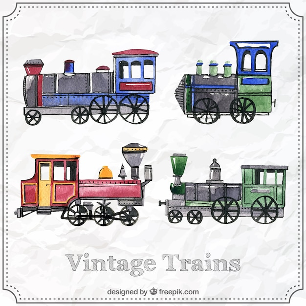 Vintage Trains Collection Free Vector