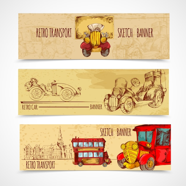 Vintage transport banners Free Vector