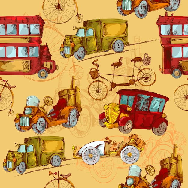 Vintage transport seamless Free Vector