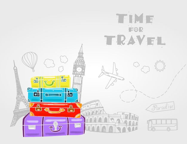Vintage travel bags with different travel elements. Premium Vector
