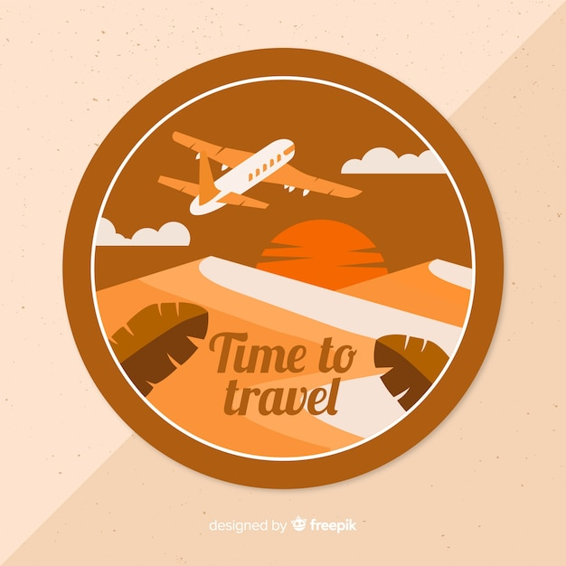 Vintage travel label flat design Free Vector