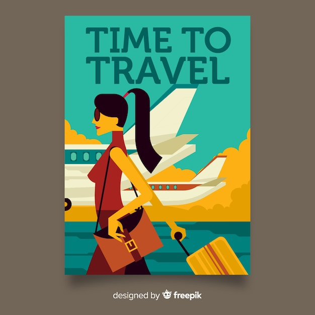 Vintage travel poster flat style Free Vector