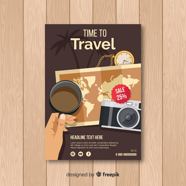 Vintage travel poster template Free Vector
