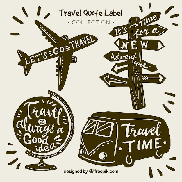 Vintage travel quote label collection Free Vector