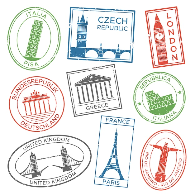 Vintage travel stamps for postcards with europe countries architecture attractions country culture trip tours sticker Premium Vector