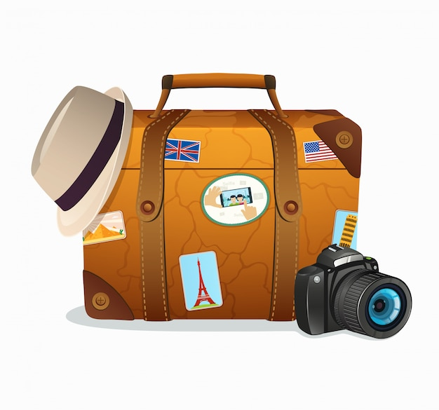 Vintage travel suitcase with tickers from around the world Premium Vector