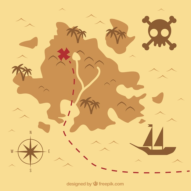 Vintage treasure map background Vector | Free Download