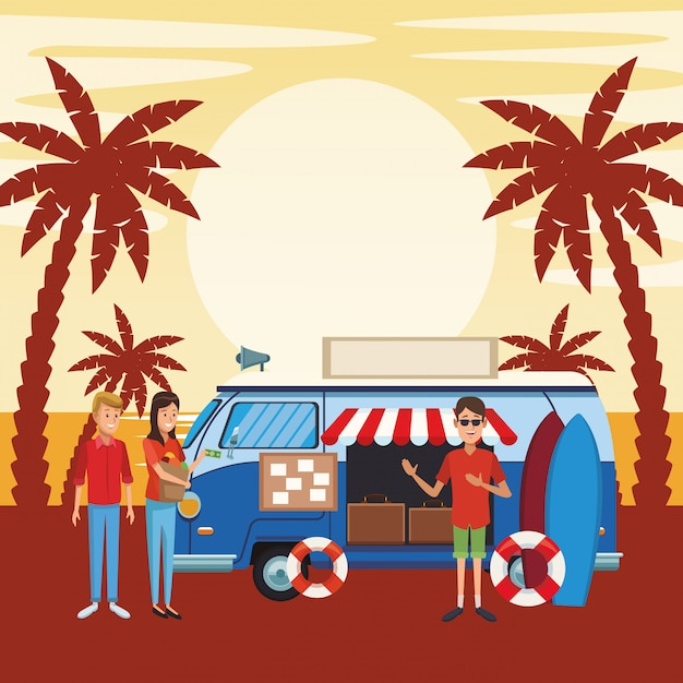 Vintage trip van cartoon Premium Vector