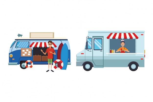 Мультфильм винтажный фургон Premium векторы