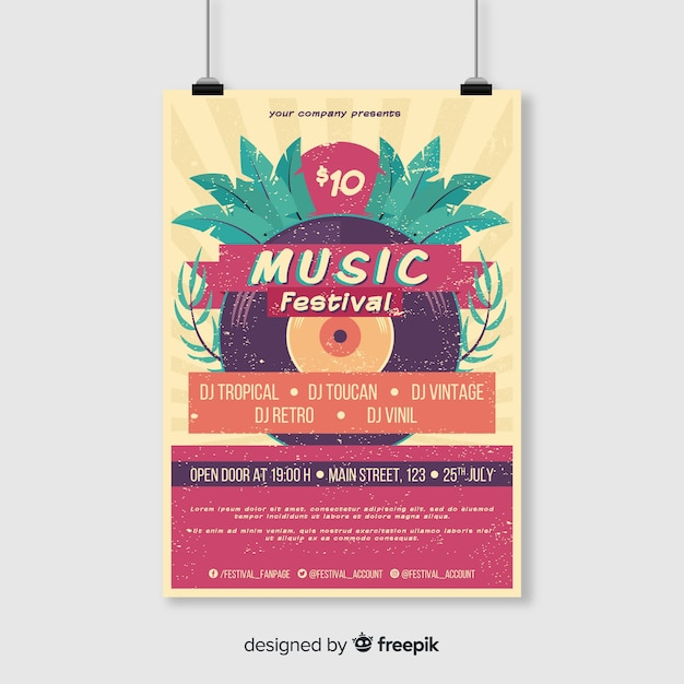 Vintage tropical music festival poster template Free Vector