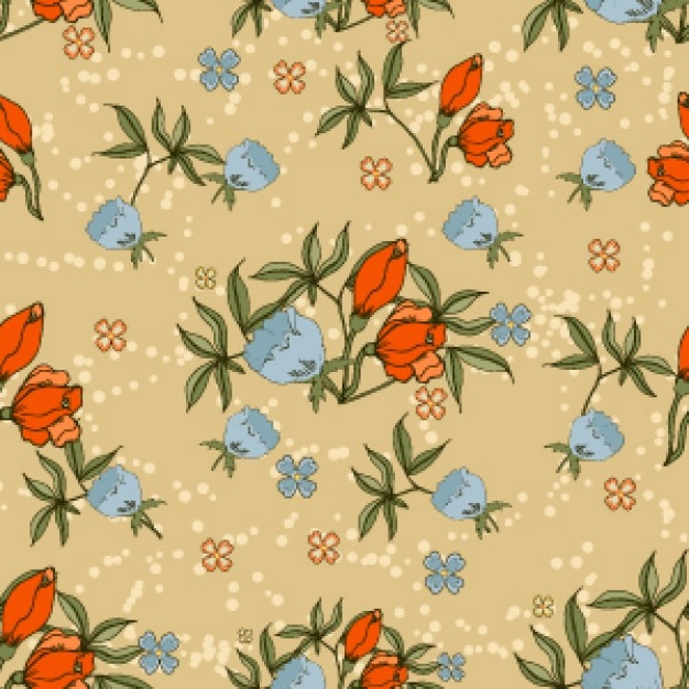 Vintage tulips seamless vector\ background