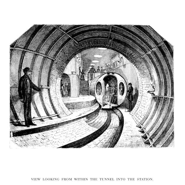 Vintage tunnel illustration Free Vector