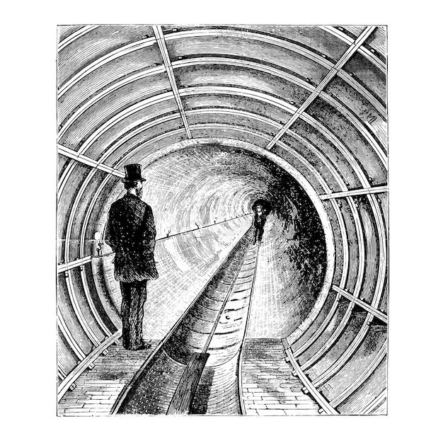 Vintage tunnel illustration Free Vector