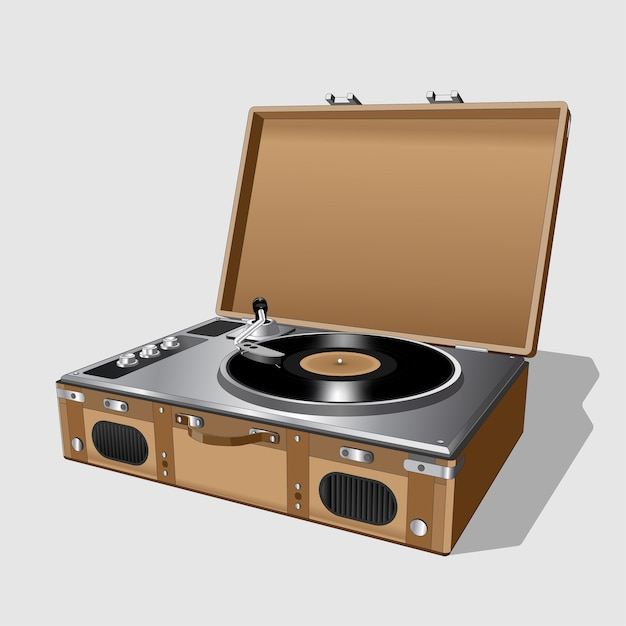 Vintage turntable. record player vinyl record. realistic retro old turntable on white background. isolated. Premium Vector