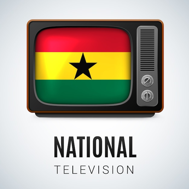 Vintage tv and flag of ghana as symbol national television Premium Vector