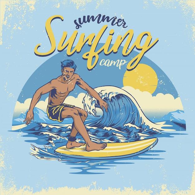 Vintage txtured hand drawing surfing Premium Vector