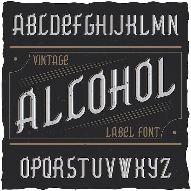 Carattere tipografico vintage denominato alcol Vettore gratuito
