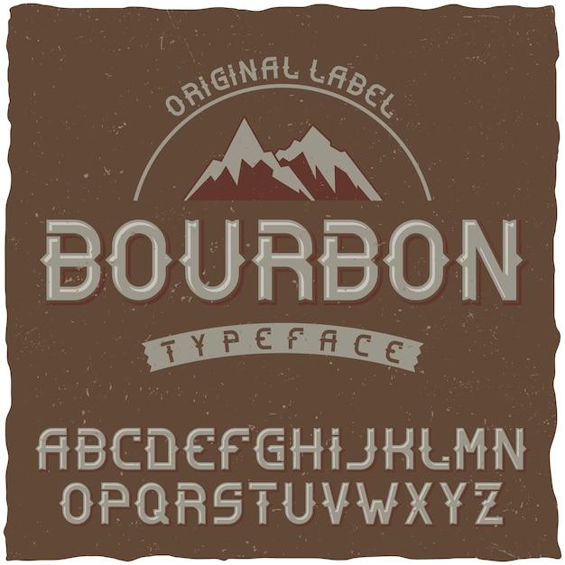 Carattere tipografico vintage denominato bourbon Vettore gratuito