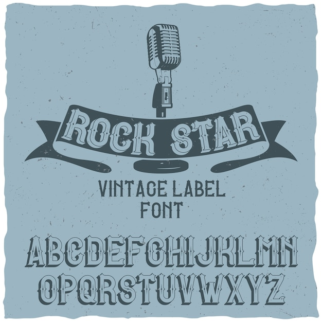 Vintage typeface named rock star Free Vector