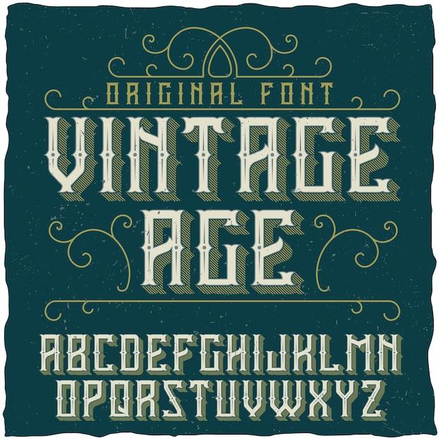 Carattere tipografico vintage denominato vintage age Vettore gratuito