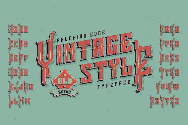 Carattere tipografico vintage con effetto estruso Vettore gratuito