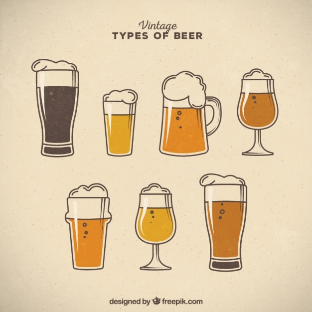 Vintage types of beer with foam Free Vector