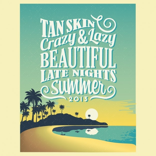 Vintage typography summer poster Vector | Free Download