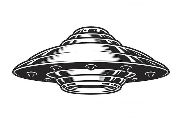 Concetto di astronave ufo vintage Vettore gratuito