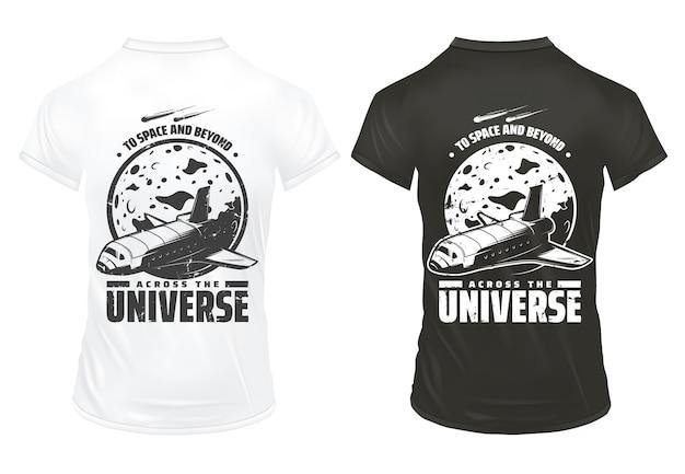 Винтажный шаблон исследования вселенной с надписью космический шаттл, падающие метеоры и планета на изолированных рубашках Бесплатные векторы