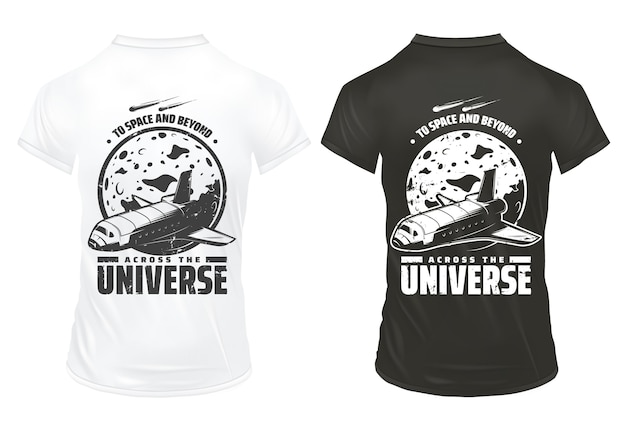 La ricerca dell'universo dell'annata stampa il modello con le meteore e il pianeta che cadono della navetta spaziale dell'iscrizione sulle camicie isolate Vettore gratuito