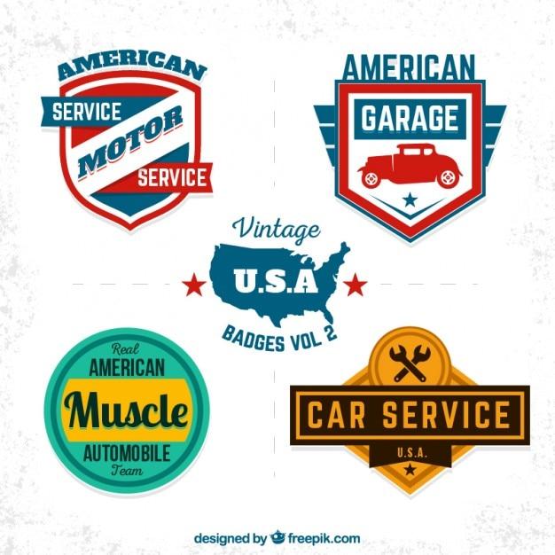 vintage usa garage badges vector premium download