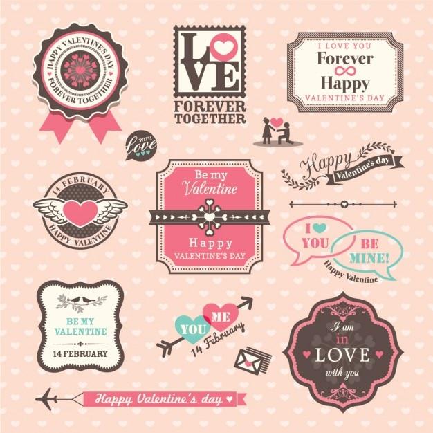 Vintage valentine badges Free Vector