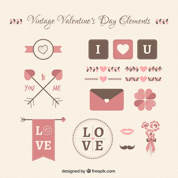 Vintage valentine day elements collection Free Vector