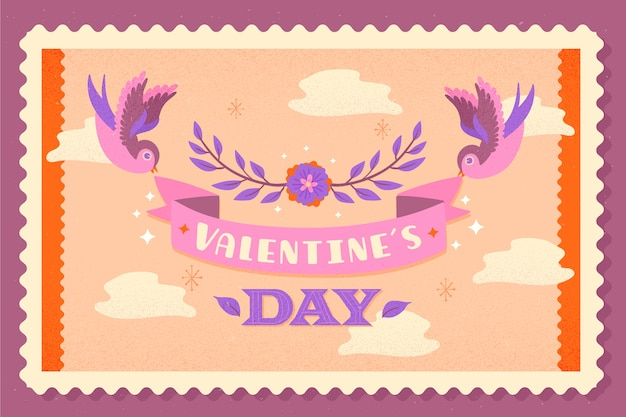 Vintage valentine's day background Free Vector