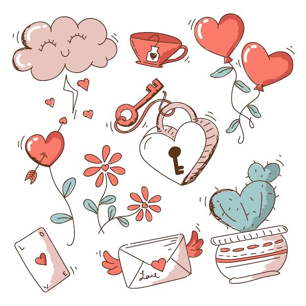 Vintage valentine's day element pack Free Vector